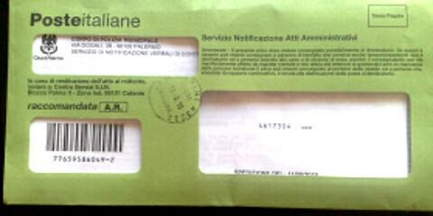 Avviso di Giacenza Raccomandata Indescritta busta verde