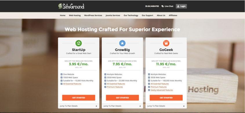 Siteground e Godaddy per servizi di dominio e hosting